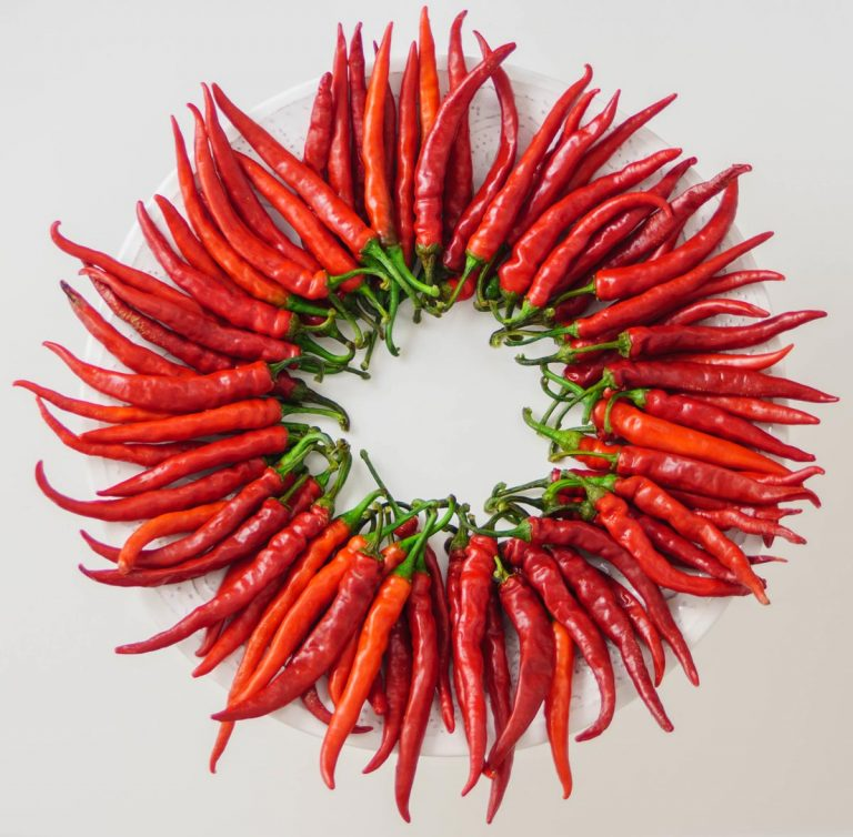 A red wreath of cayenne pepper