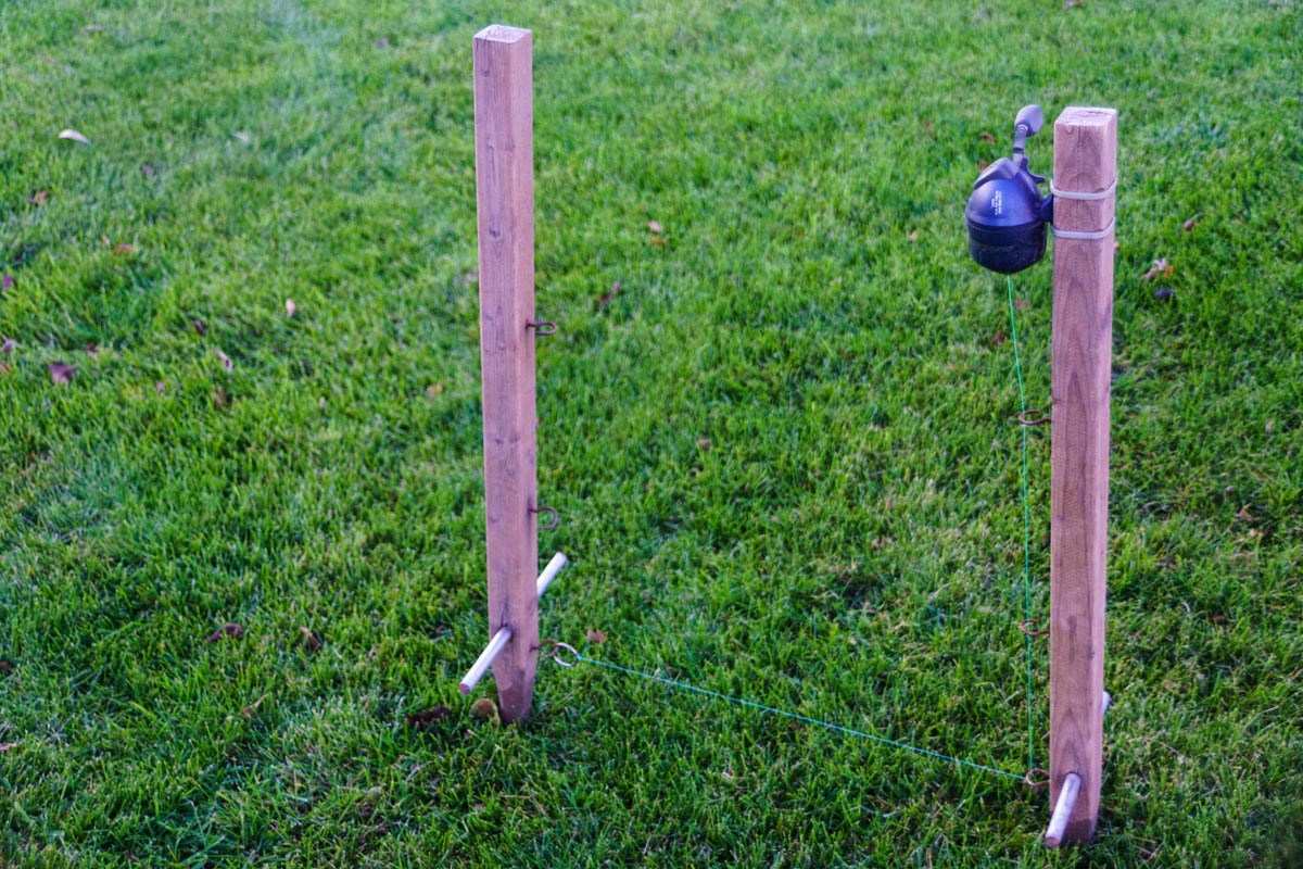 A DIY tool for planting line. Much easier than using twine and stakes.